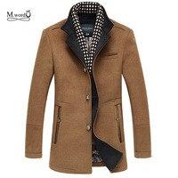 2015 New Style Winter Men Splice Woolen Jacket Plus Thick Outerwear Mens Middle Long Jacket Coat