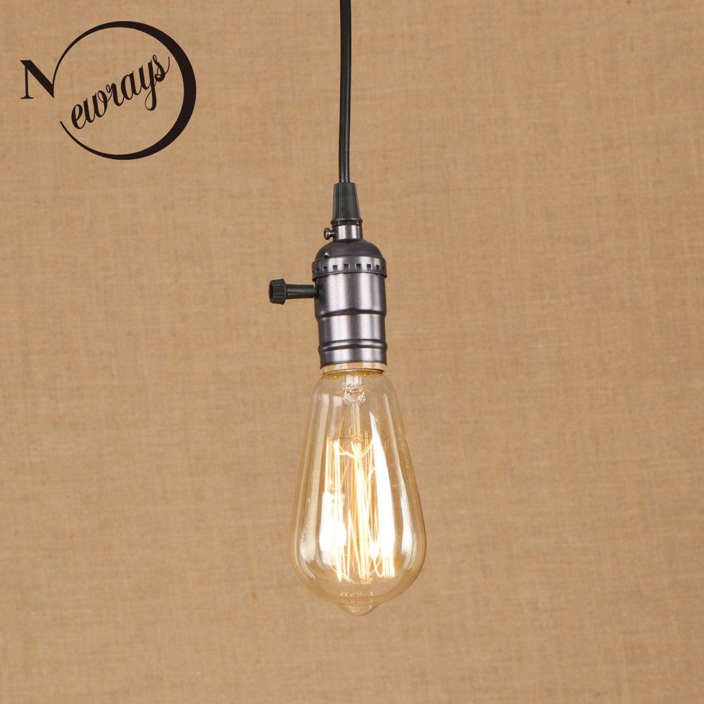 Vintage iron painted pearl black minimalist pendant lamp E27 220V LED hanging light fixture restaurant bedroom dining room cafe