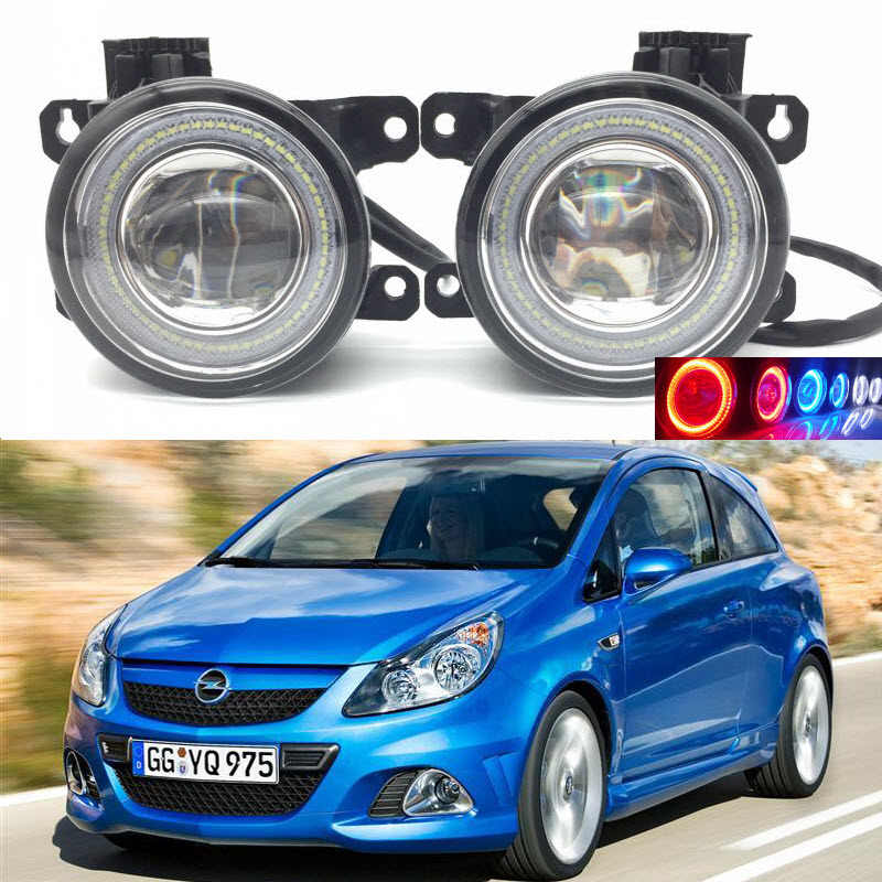 For Vauxhall Opel Corsa D OPC 2007-2011 2-in-1 LED 3 Colors Angel Eyes DRL Daytime Running Lights Cut-Line Lens Fog Lights Lamp