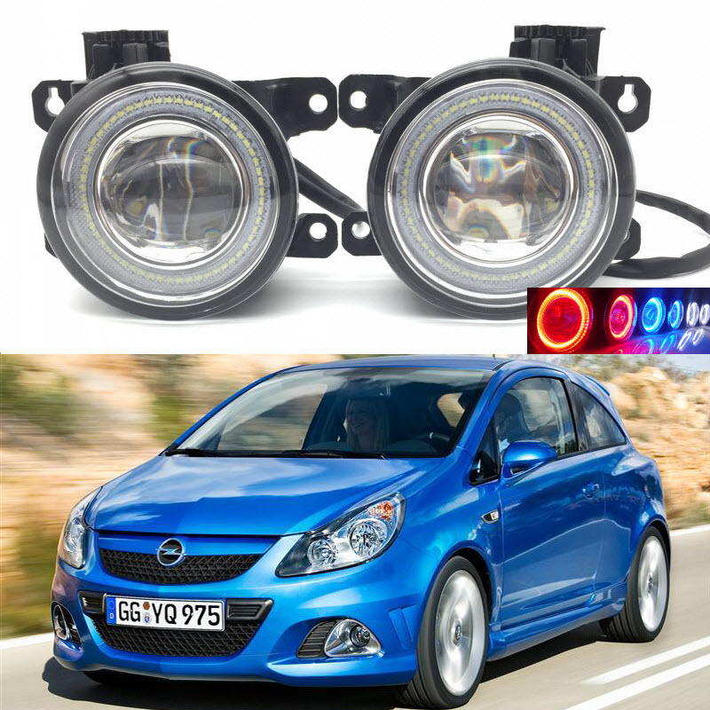 For Vauxhall Opel Corsa D OPC 2007-2011 2-in-1 LED 3 Colors Angel Eyes DRL Daytime Running Lights Cut-Line Lens Fog Lights Lamp eemrke car styling for opel zafira opc 2005 2011 2 in 1 led fog light lamp drl with lens daytime running lights