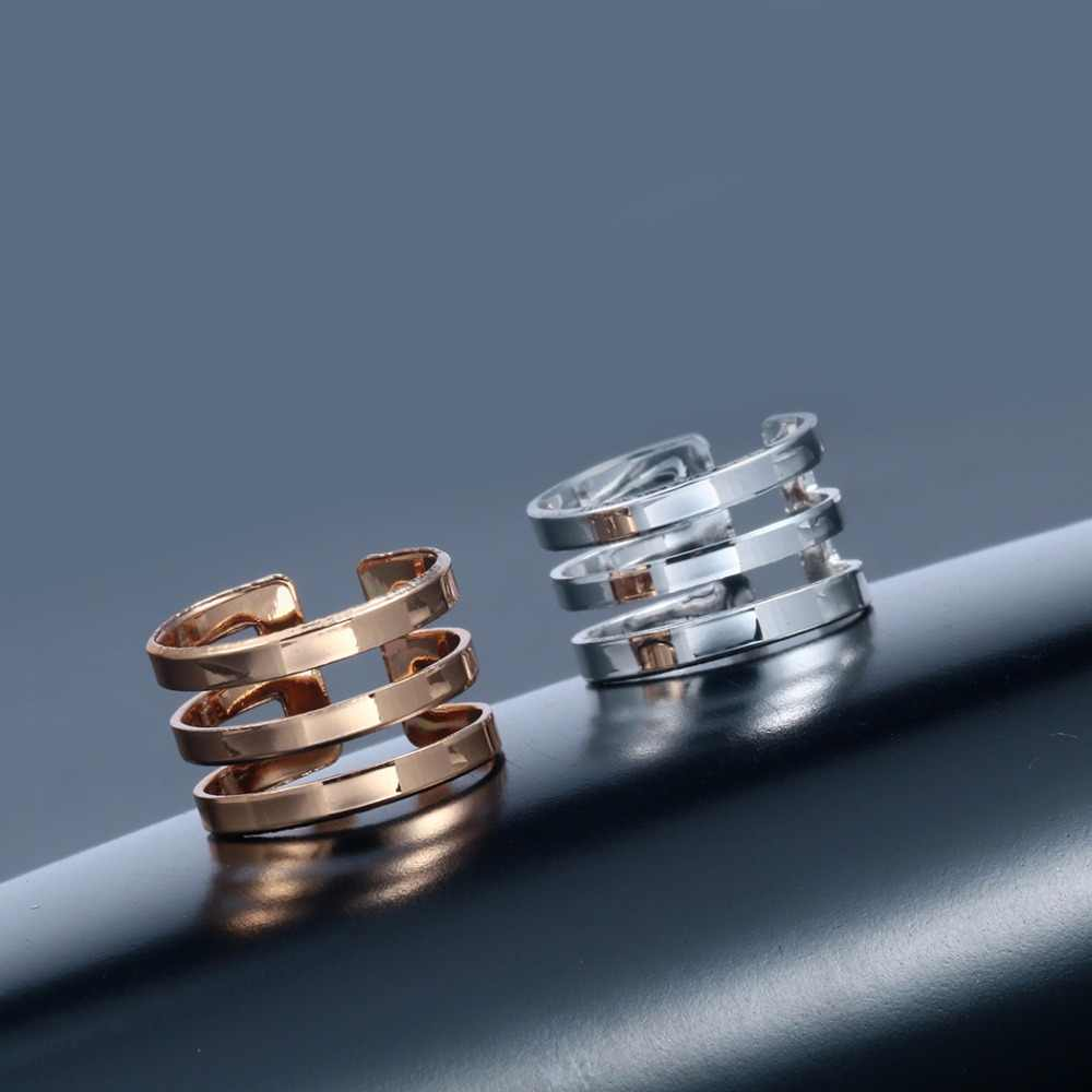 ยี่ห้อ 10 ชิ้น Silver Gold สามเส้นแหวนเปิดกว้าง Bague เรขาคณิตเครื่องประดับ Bib Knuckle Finger Alloy Bijoux สำหรับผู้หญิง
