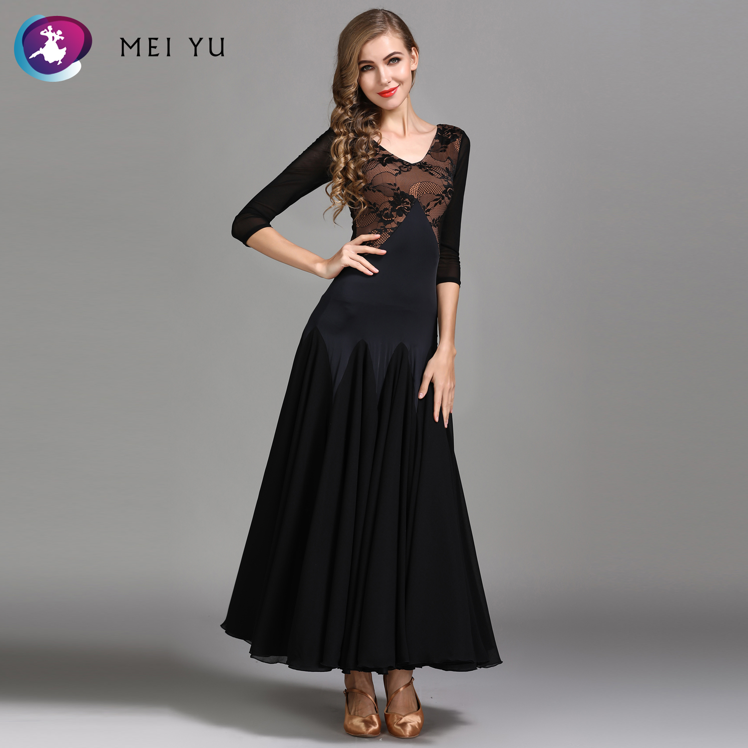 Generous Mei Yu My788 Modern Dance Costume Women Lady Adult Waltzing Tango Lace Dancing Dress Ballroom Costume Evening Party Dress Novelty & Special Use