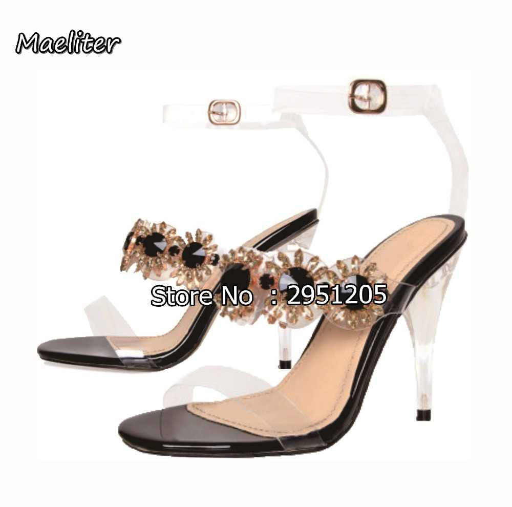 f3cafd981ac8 2019 PVC Women Clear Sandals Rhinestone Transparent Shoes Perspex High Heels  Party Crystal Sandals Women Shoes