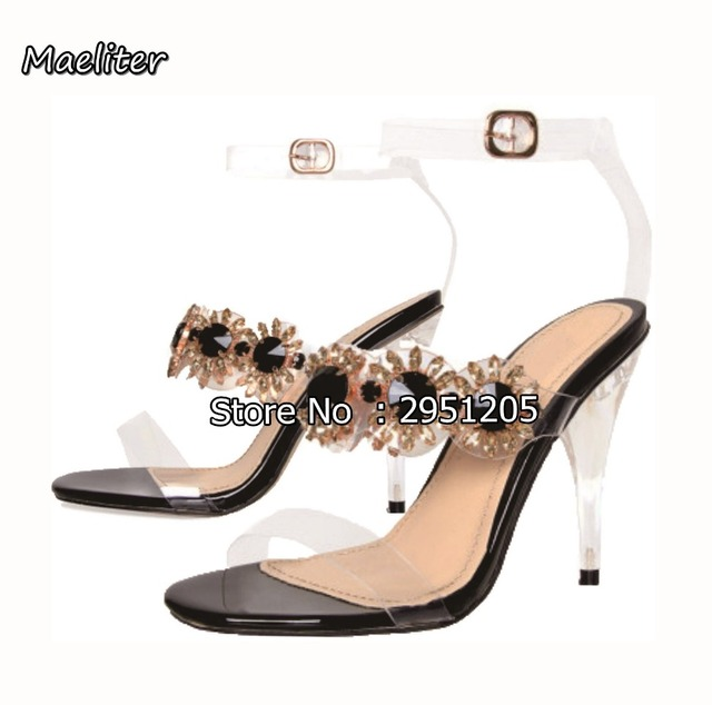 13cc1c3fee US $54.99 5% OFF|2019 PVC Women Clear Sandals Rhinestone Transparent Shoes  Perspex High Heels Party Crystal Sandals Women Shoes Plus Size 35 43-in ...