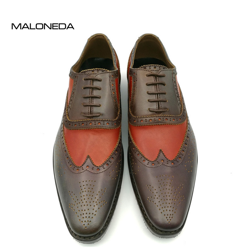 MALONEDA Handmade Goodyear Welted Genuine Leather Shoes Mens Lace-up Oxford Dress Wedding Party Shoes цены онлайн