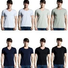 Men's Short T-shirts Fashion Premium Fitted Short-Sleeve Crew V-Neck T Shirt Men Tee Summer Casual Male Tops M-2XL v cut textured slim fitted tee