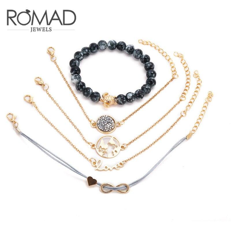 ROMAD 5pcs/set World Map Bracelet Bohemian Turtle Charm Bracelets Bangles For Women Gold Color Bracelets Sets Fashion Jewelry R4