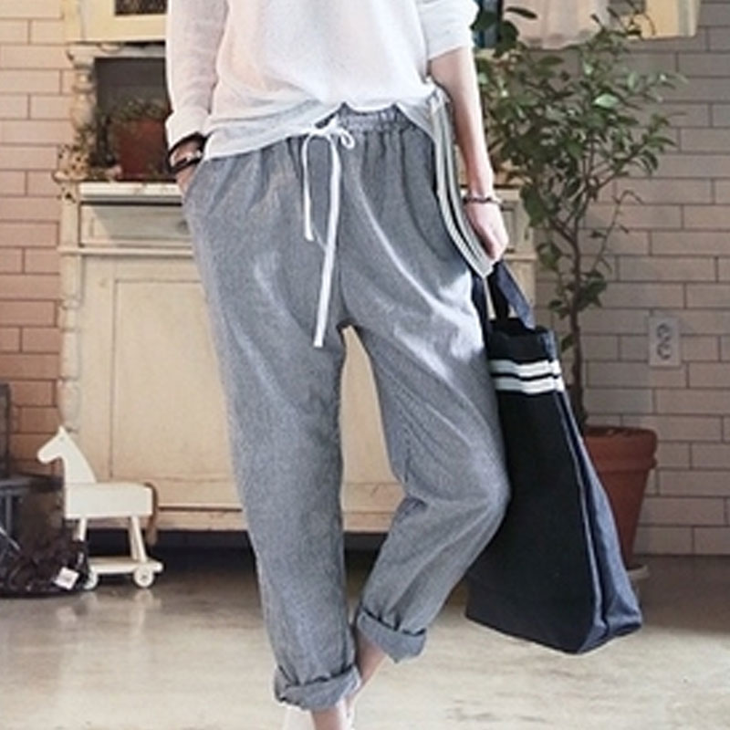 6dfd37de793 Harem Pants Women 2018 Summer Casual Elastic Waisted Cotton Striped  Drawstring Sweatpants Plus Size All match Pantalones Mujer-in Pants    Capris from ...