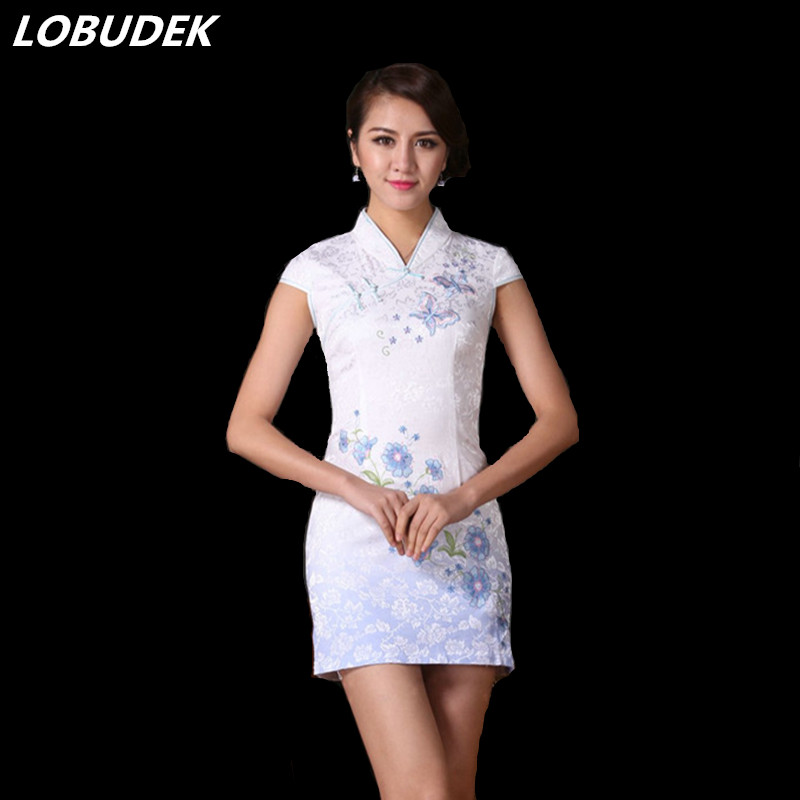 Improved Cheongsam One Piece Dress Short Sleeve Womens Clothes