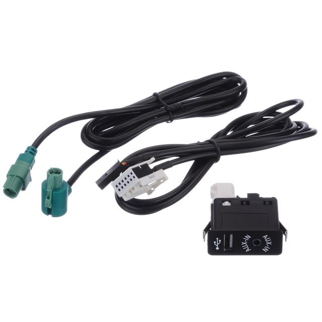 1 sztuk samochodów kabel Audio AUX w gniazdo USB przełącznik wiązki przewodów drutu dla BMW E60 E61 E63 E64 E87 e90 E70 F25