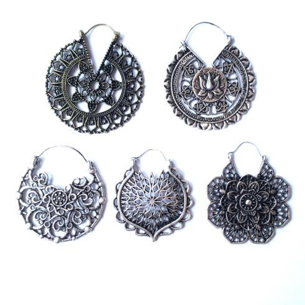 BOG-Pair Brass Copper Tribal Indian Spiral Drop Earring Weight Flower Charming Ear Hoop Jewelry Dangle Ear Piercing Style 20g
