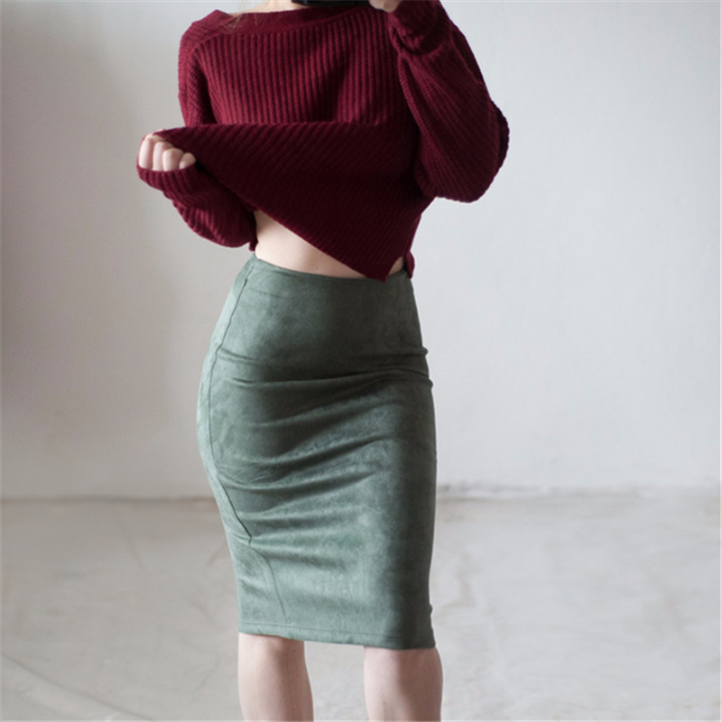 Neophil 19 Winter Women Suede Midi Pencil Skirt High Waist Gray Pink XXL Sexy Style Stretch Wrap Ladies Office Work Saia S1009 20
