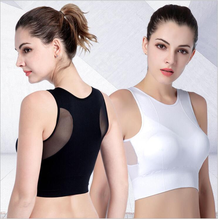 Yomay Women Sports Bras Fast Dry Elastic Shockproof Padded Gym Running Bra Solid color Fitness Yoga Sport breathable Tops Vest