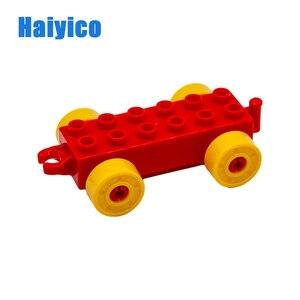 Image 2 - Luzem kolejowy krzyż tor kolejowy duże klocki do budowania kompatybilny z Duplo samochód klasyczny akcesoria zestawy cegieł części DIY zabawki dla dzieci