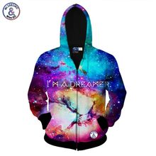 2017 Mr.1991INC I AM A DREAMER space galaxy zipper jacket for men/women 3d sweatshirt autumn hoody hooded hoodies Asia size S-XX
