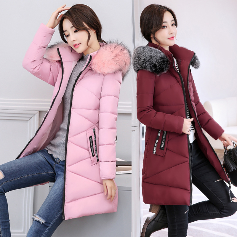 2017 Winter New Female Zipper Hooded Long Cotton-padded Jackets Parkas Women Thick Warm Feathers Collar Slim Long Sleeve Coats new collocation winter warm parkas hooded pockets zipper solid thick women coat slim long flare slim cotton padded lady jackets