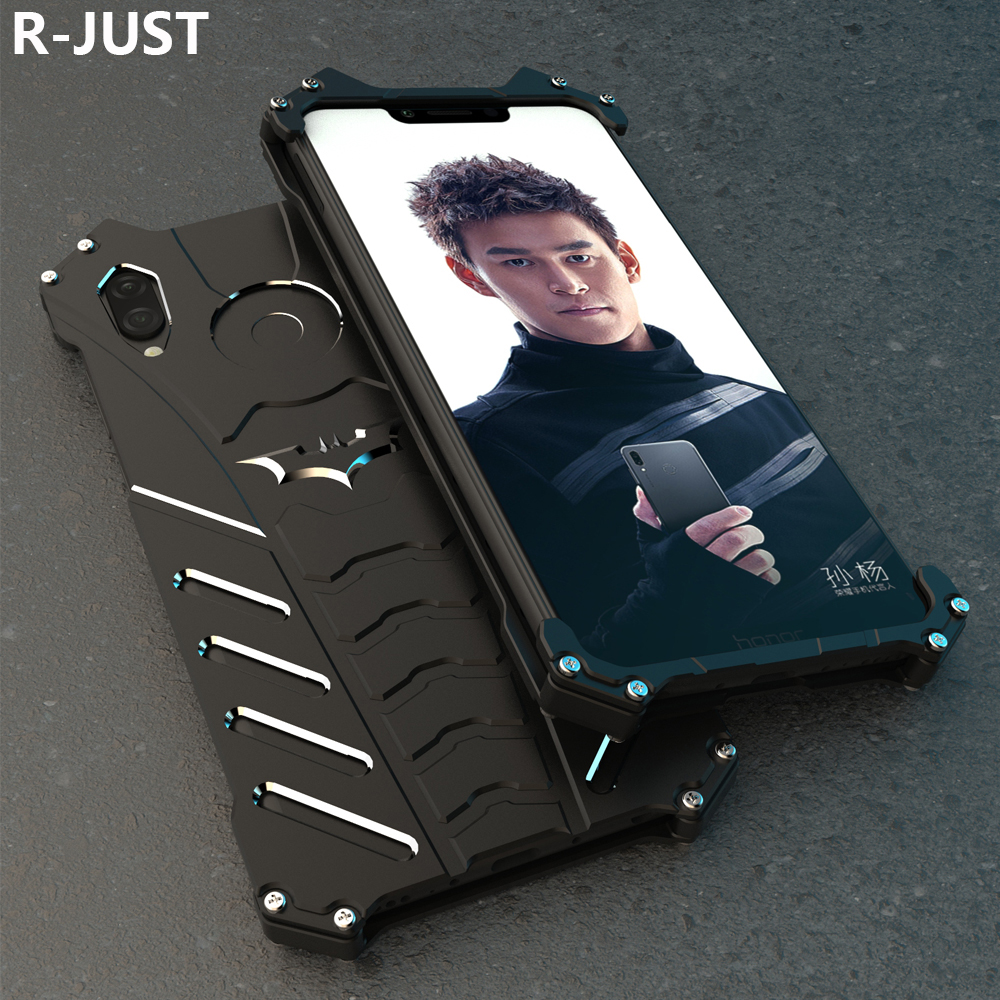 R-JUST For Huawei Honor Play Case Cover Luxury Hard Metal Aluminum Shockproof Armor Phone Case For Honor Play Back Cover 6.3
