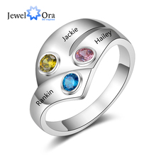 Personalized 925 Sterling Silver Rings for Women Customized 3 Names Birthstone Ring Mother Child Family Gift (JewelOra RI103806) uny ring 925 sterling silver mother customized engrave rings family heirloom ring anniversary personalized love birthstone rings