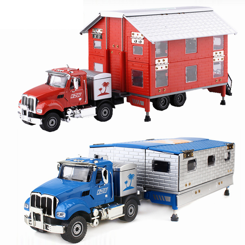 Alloy Diecast Motor Homes Truck 1:50 Motor Trailer Limous Folding 4 Telescope Stand Vehicle Model Collection Gift For Kids Toy