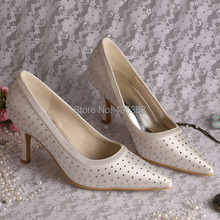 Wedopus Hot Selling Pointed High Heels Pumps for Wedding with Rhinestone Off-white Satin