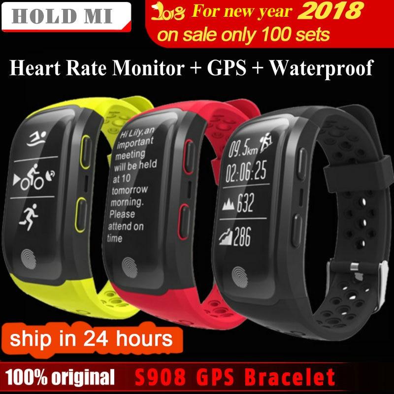 Espera mi S908 GPS banda inteligente IP68 impermeable deportes pulsera de múltiples deportes Monitor de ritmo cardíaco llamar a mi nder G03 inteligente banda