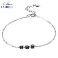 Lamoon 100% ساحة الأسود العقيق الطبيعي 925 فضة أساور سحر سوار غرامة مجوهرات الذهب الأبيض مطلي LMHI016