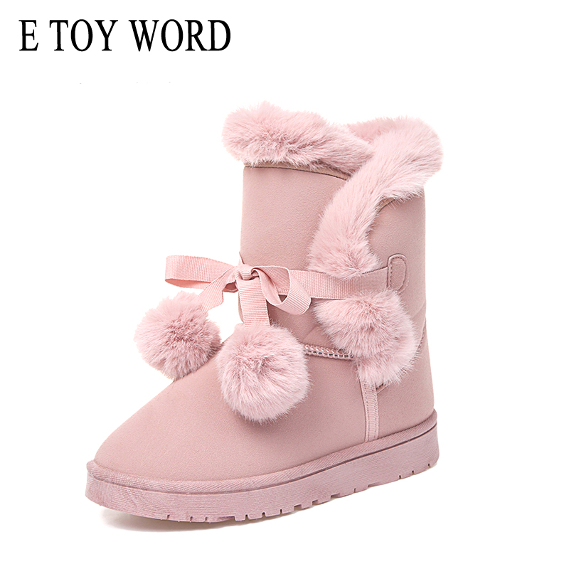 E TOY WORD Winter Pom Poms Flock Snow Boots Casual Slip On Warm Women Shoes Boots Suede Platform Shoes Woman Size 35-41 sale 20 pcs rca right angle connector plug adapters male to female 90 degree elbow