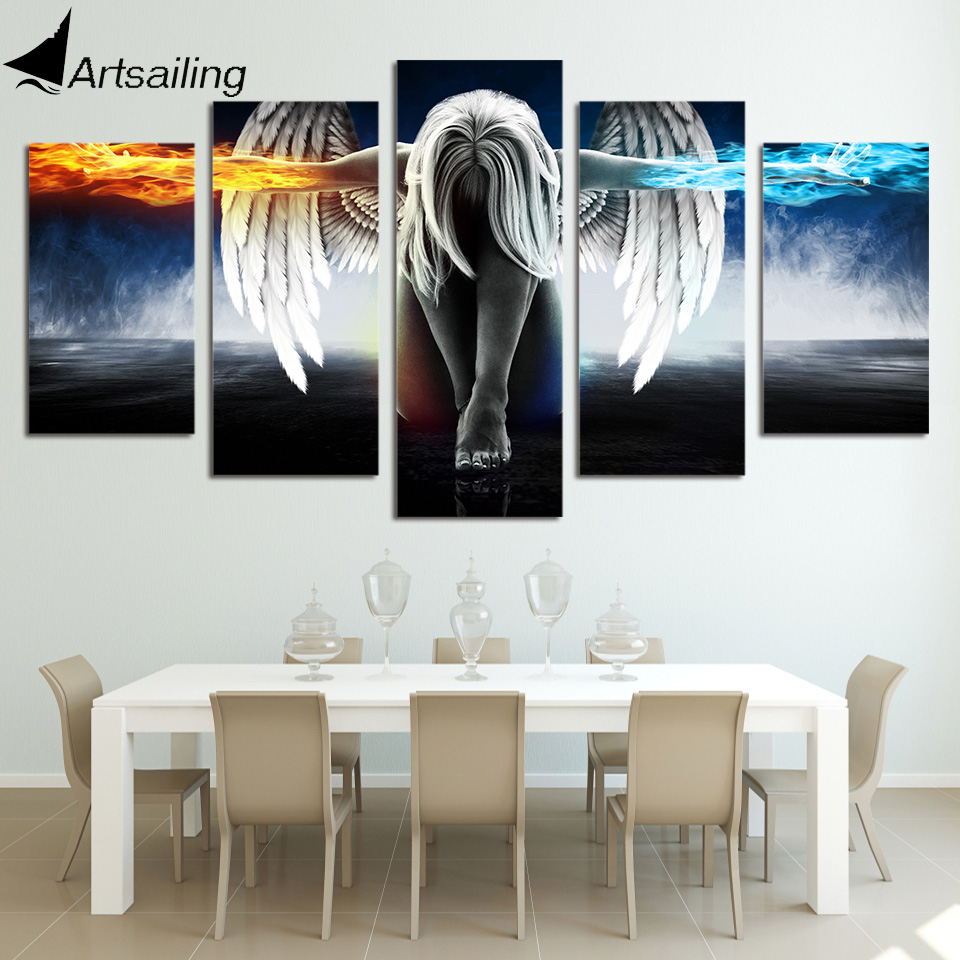 HD Printed 5 Piece Canvas Art Angel With Wings Painting Anime Room Decor  Print Poster Wall Art ...