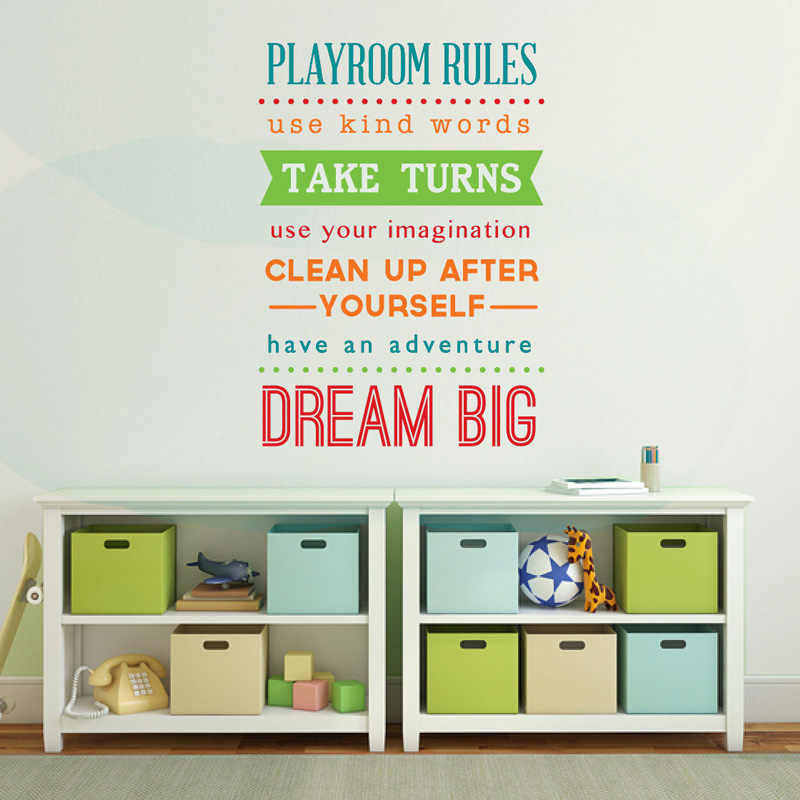 Playroom Wall Decal Playroom Rules Sign Kids Playroom Wall