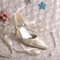 Ankle Strap Satin Ribbon Prom Shoes Pointed Toe Ivory Satin Dropshipping