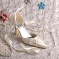 Zapatos de Punta estrecha zapato con Cierre de Cinta de Raso Prom Marfil Satinado Dropshipping