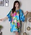 Azul Plus Size 6XL das Mulheres Kimono Estilo Chinês Vestido de Seda Rayon Roupão de Banho Vestido Camisola Solta Casual Flor Sleepwear WR064