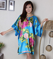Blue Plus Size 6XL Women's Kimono Bath Gown Silk Rayon Robe Dress Chinese Style Nightshirt Loose Casual Sleepwear Flower WR064