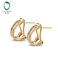 Caimao ювелирные изделия красивые 14 К Желтое золото и 0.31ct алмаз обручальные серьги