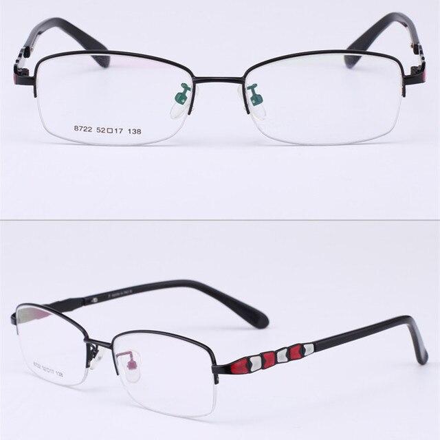 Глаз очки кадров оптические очки стильные и элегантные женские модели очки, половина кадр очки металлические каркасы 8722