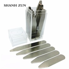 SHANH ZUN 10 Pcs Metal Stainless Steel Metal Collar Stays Gift Present For BF Man Son Boy Shirt Bone Stiffeners Insert cheap Tie Clips Cufflinks Fashion Cuff Link and Tie Clip Sets Trendy BXTset10 Cuff Links none Collar Stays Set silver 10mm Pack of 10