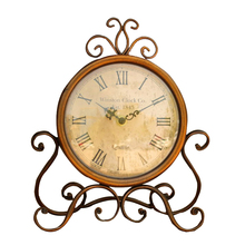 Slient Vintage  Wrought Iron Table Clock  European Mute Desktop Clock  Home Decor