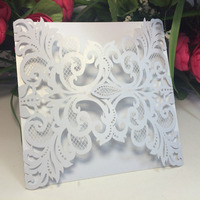 40pcs European Iridescent Pearl Paper Wedding Invitation Card Heart Pattern Hollow Out Carved Crafts Card For