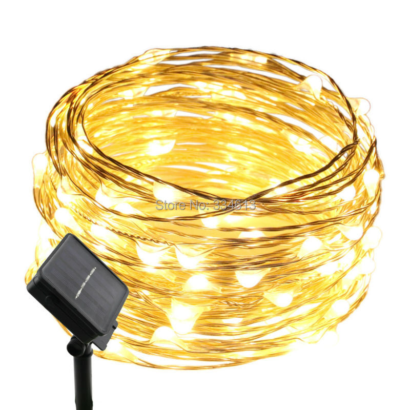 Solar Powered 10M/33FT 100LEDs Outdoor Silver Wire Dimmable String Lights Flash Starry Bouquet Christmas Decorative Lights