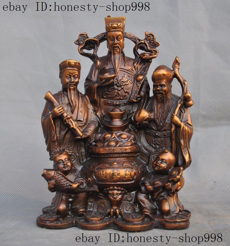 Temple de la chine en laiton richesse Yuanbao argent crapaud d'or heureux Statue de bouddha Maitreya