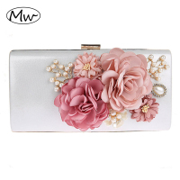 2017 New 7 Colors Handmade Fabric Flowers Evening Bag Luxury Wedding Bride Clutch Bag Pearl Party