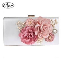 2019 New 9 Colors Handmade Fabric Flowers Evening Bag Luxury Wedding Bride Clutch Bag Pearl Party Handbag Mini Purses Wallet