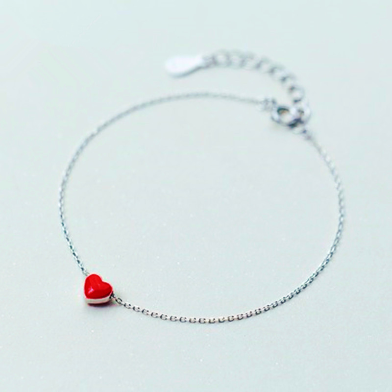 925 sterling silver anklet halhal on foot leg Korean fashion red love ankle peach heart anklets for women cute jewelry