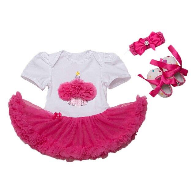Conjunto de Roupas Tutu Vestido Jumpersuit Romper do bebê Recém-nascido Sapatos Headband do 3 pcs Set Bolo De Aniversário Roupas de Bebê Infantil Bebes rosa