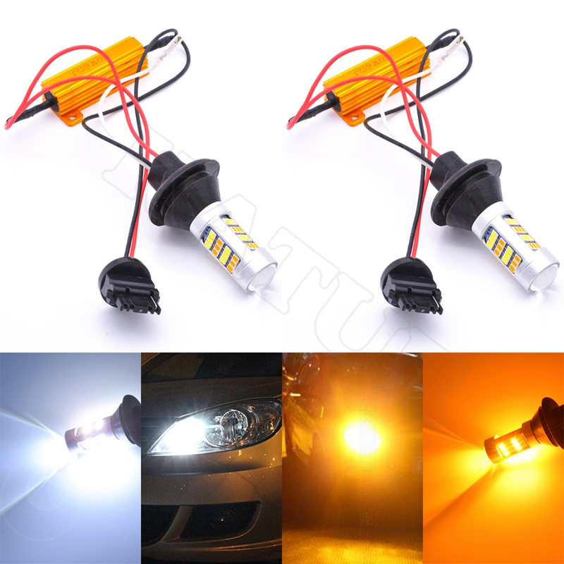 2шт 80 Вт 3156 t25 в двойной Цвет белый желтый лампы для замены сигнала поворота шоры свет 12V передняя Двойная функция LED лампочка
