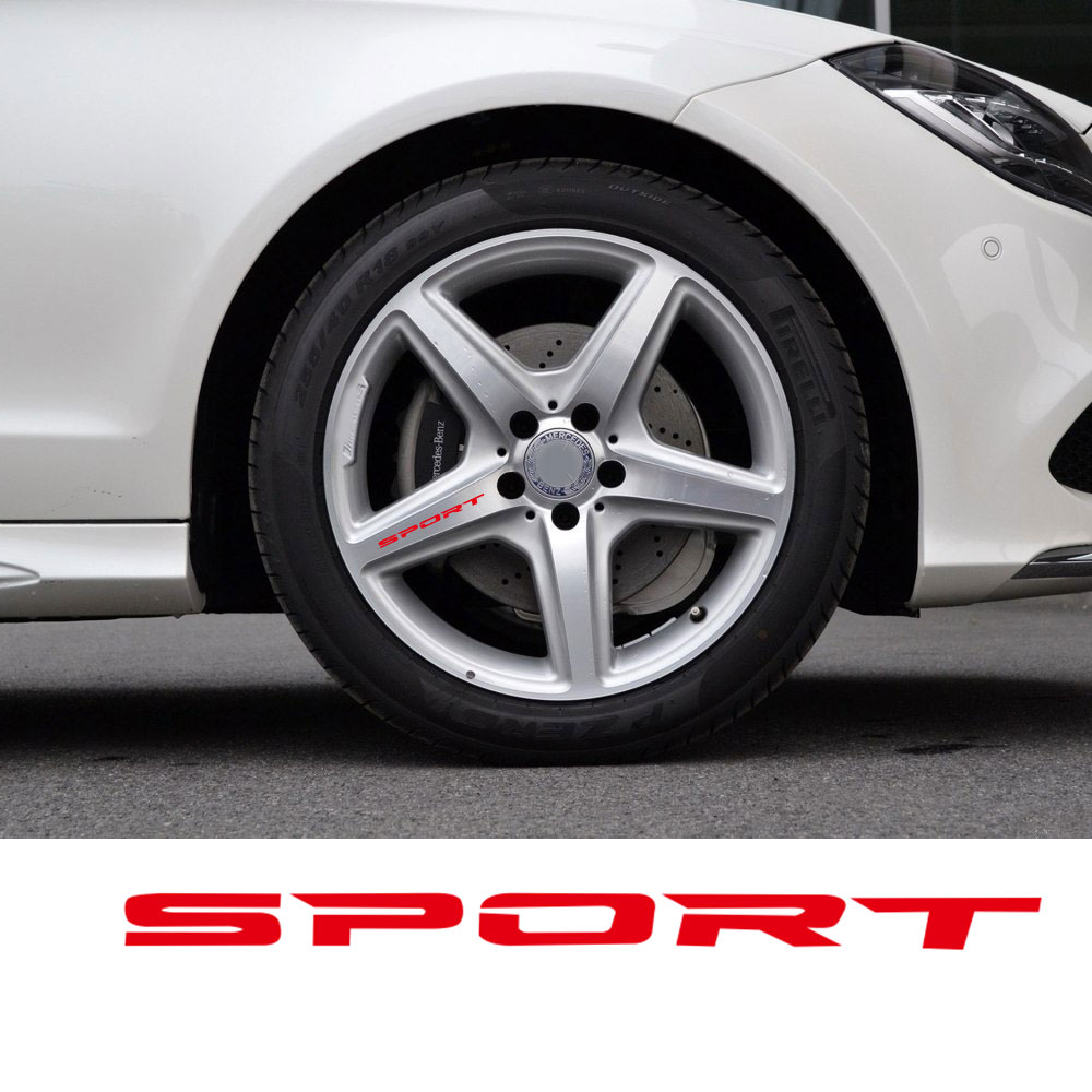 Black White Red 4pcs Set Sport Wheel Decal Sticker Sport