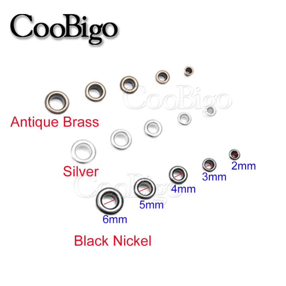 100sets Metal Eyelets with Grommet Dia.2mm~6mm for DIY Scrapbooking Cap Leathercraft Shoes Belt Bag Tag Clothes Accessories