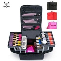 De las mujeres de la moda organizador de maquillaje de gran capacidad multicapa de la tablilla de bolso cosmético caso belleza salón de tatuajes de uñas de arte herramienta Bin