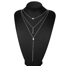 Fashion Alloy metal bar Pendant 3 Layers Chain Necklace Chunky Women Choker Necklaces