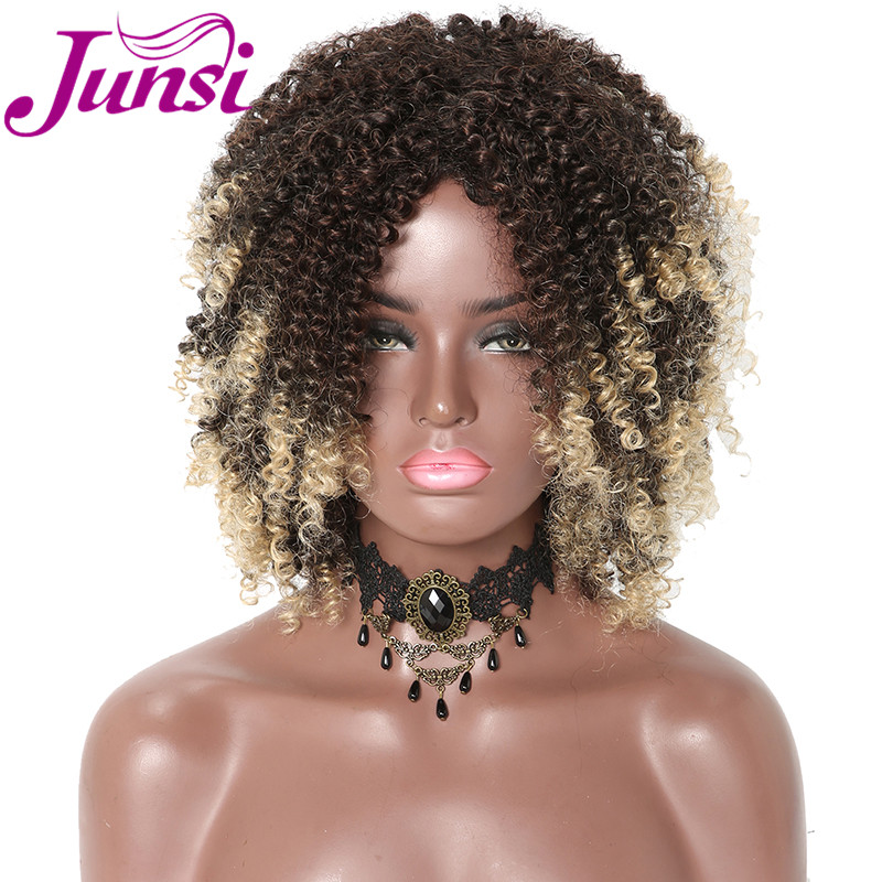JUNSI Short Afro Curly Synthetic Wigs For Women Ombre Golden Natural Wigs With Bangs Cosplay Party